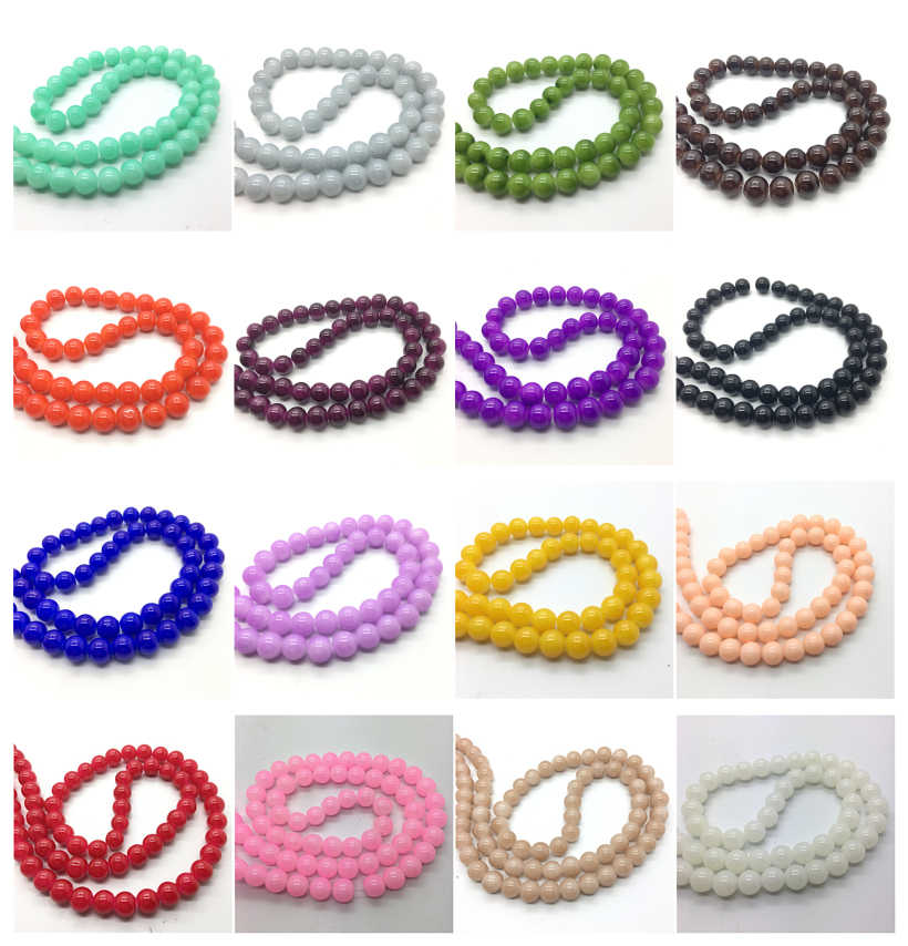 Wholesale 4mm 6mm 8mm 10mm Jade Color Glass Round Pearl Loose Beads DIY Jewelry Making 40 Colors Pick