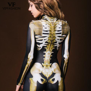 Image 2 - VIP FASHION New Graveyard Halloween Cospaly Costume For Women 3D Skull  Skeleton Ghost Jumpsuits Halloween Bodysuit