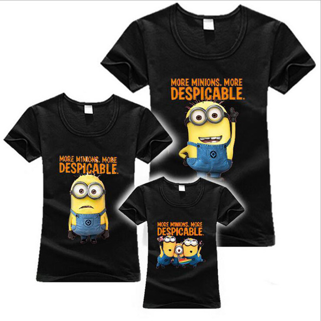 Minions Print Family Matching Outfits Summer T Shirts Father Mother Kid Son  Daughter Casual Cotton