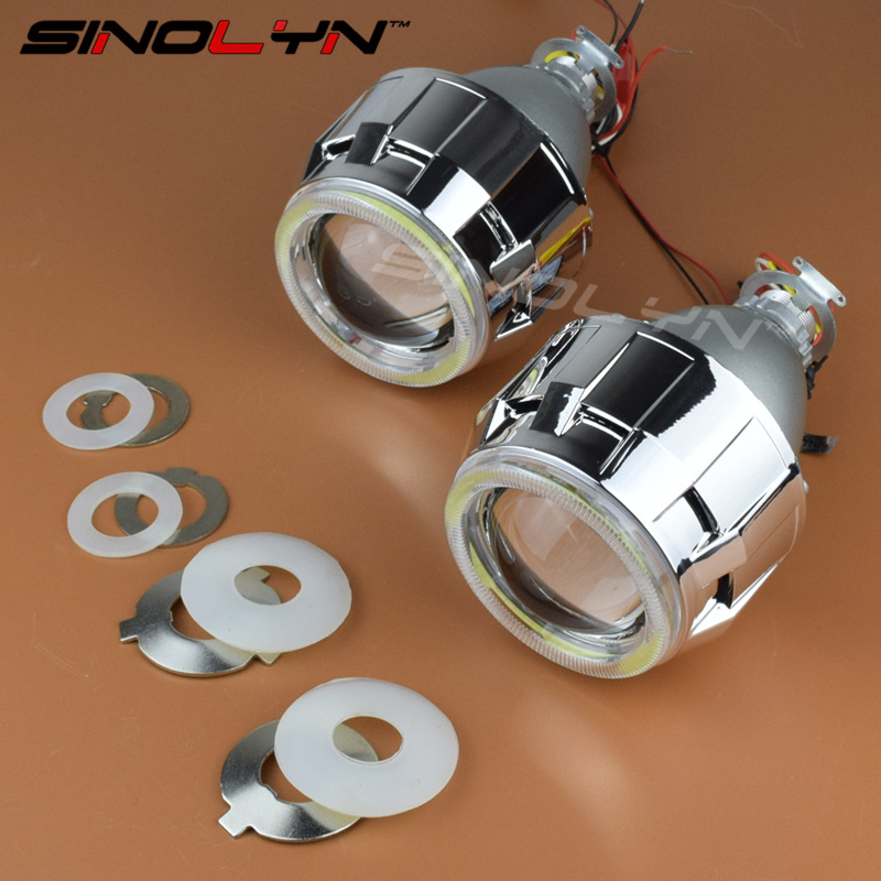 SINOLYN Upgrade Metal 2.5 inch Leader HID Bixenon Projector Headlight Lens W/ COB LED Angel Devil Eyes Halo H1 H4 H7 Retrofit sinolyn upgrade 8 0 car led cob angel eyes halo bi xenon headlight lens projector drl devil demon eyes h1 h4 h7 kit retrofit diy