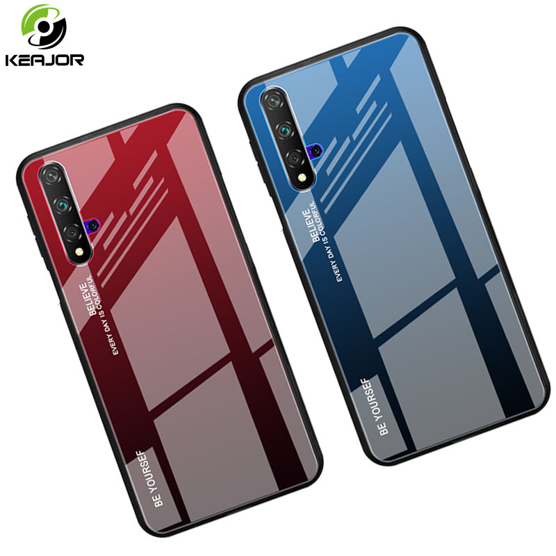 Tempered Glass Case For Huawei Honor 20 Pro Case Luxury Gradient Bumper Soft Edge Silicone Hard Cover For Honor 20 Honor20 Case