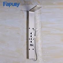 Fapully Rain Shower Bathroom Panel 6pc Massage Jets Nickel Brushed Wall Mounted Set