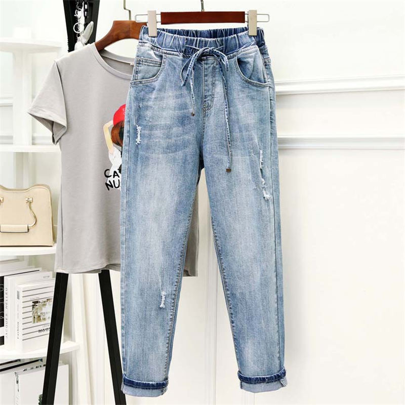 High Waist Jeans Women Stretch Denim Harem Pants Trousers Women Casual Loose Plus Size Vintage Boyfriend Jeans For Women Q1678