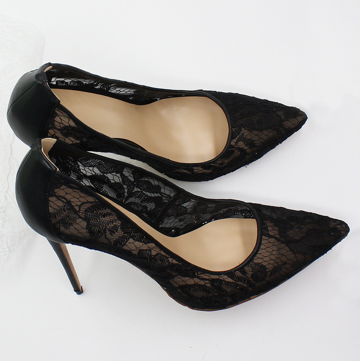 4366018d Pie Dedo Verano Tacones Negro Alto Puntiagudo Boda De Zapatos Aire Sexy  Aguja Aiyoway Mujer Fiesta ...