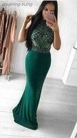 Dubai Emerald Green Beads Crystals Mermaid Evening Dresses Arabic Long Elegant Ladies Formal Gowns Prom Dress Vestidos De Novia