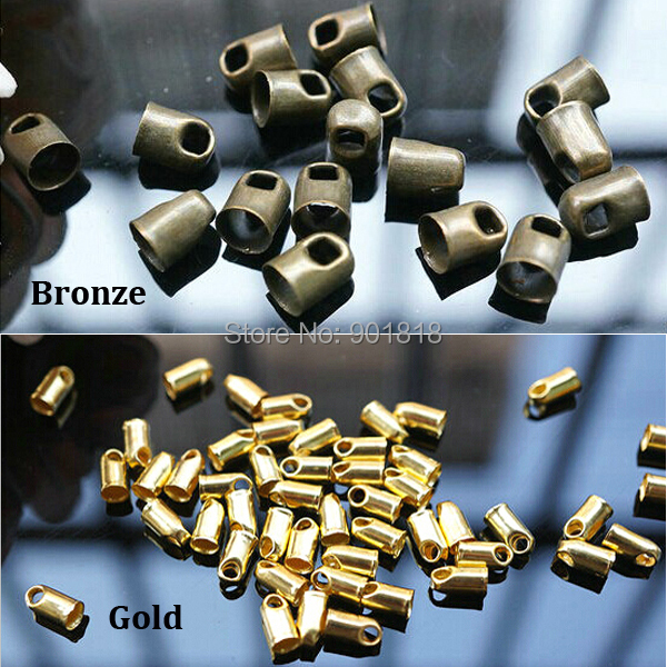 100pcs /lot Hole 4mm Bronze Gold Metal Cord End Caps For Leather Cords String For Jewelry DIY Fittings Connectors F1760
