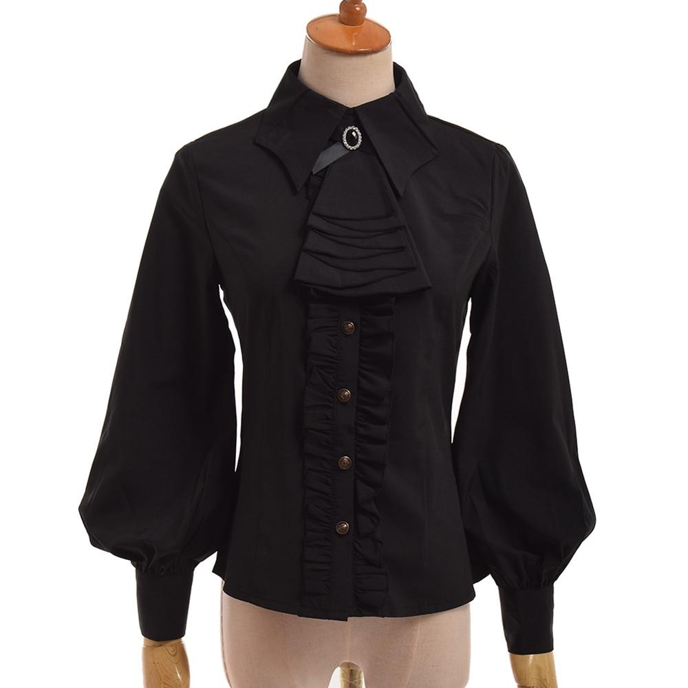 Chemisier gothique noir femmes Slim élégant princesse Vintage Royal dames lanterne manches Lolita chemise hauts