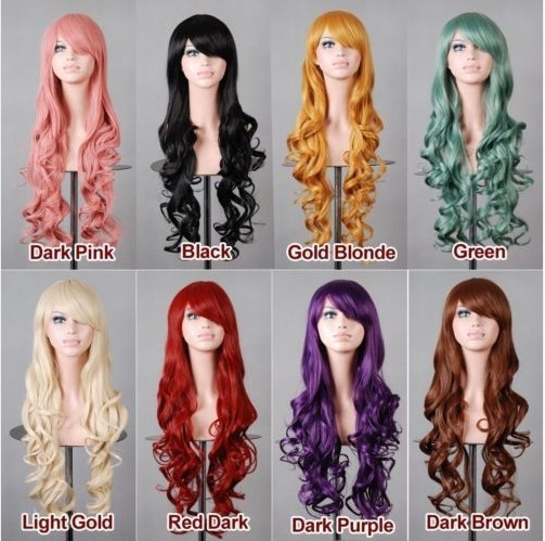 Fashion 11 color multi -color 80cm long curly hair  Cosplay Costume Wig anime wig