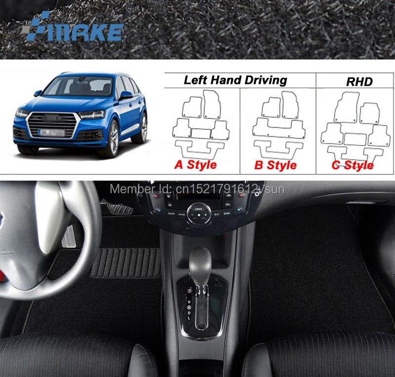 smRKE For Audi Q7 2016 2017 Car Floor Mats Carpets Customized Antiskid Hydrophil Fiber Front & Rear Full Set LHD RHD