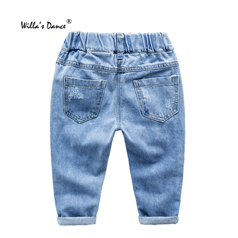 fb6272585 Baby Boys Ripped Jeans 2017 Autumn Winter Cartoon Animal Prints Denim Pants  Kids with Willa's Dance Brand Boys Clothes