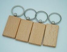"""50 sztuk puste drewniane breloczek promocja prostokąt rzeźba klucz ID może wygrawerować DIY 2.2 """"* 1.2"""""""