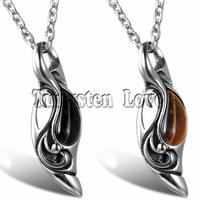 Vintage Jewelry Punk Collares Trendy Mens Fake Tiger Eye Pendant Stainless Steel Necklace For Men With