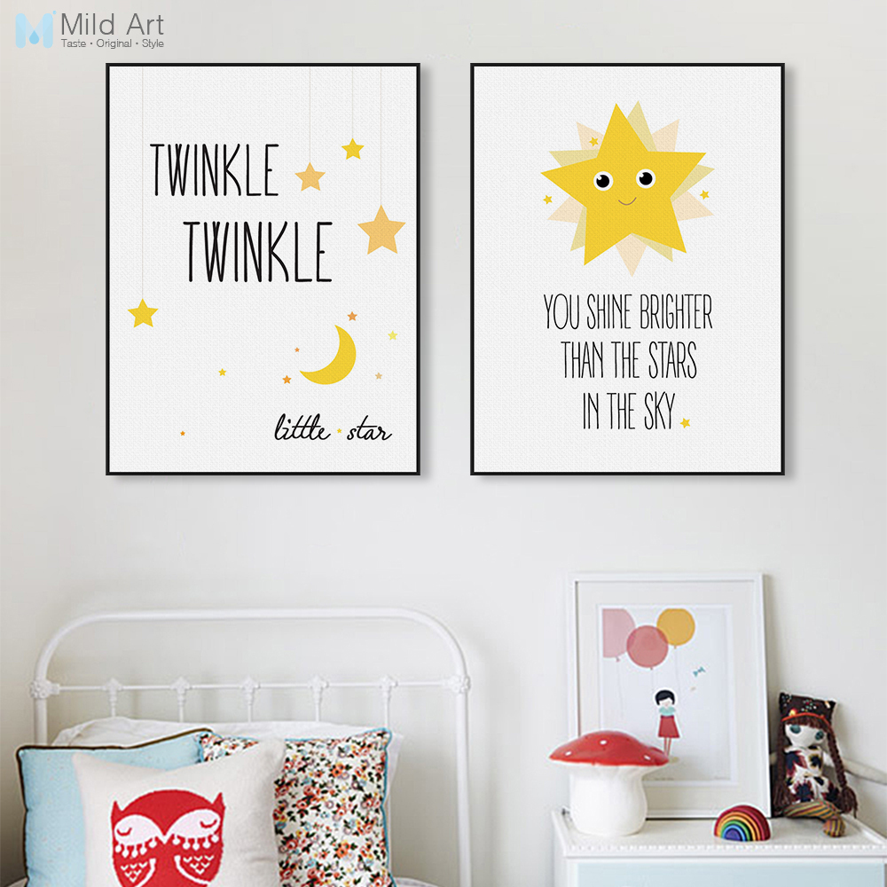 150 Best Printable Wall Art Quote Posters Nursery Kids: Kawaii Minimalist Twinkle Stars Typography Quotes Art