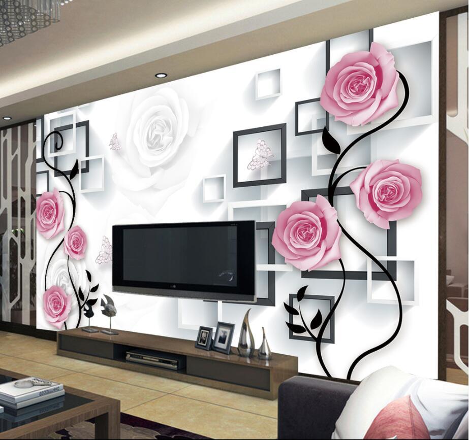 Benutzerdefinierte Tapete Hause Dekorative Wandbild Traum Rose Blume ...