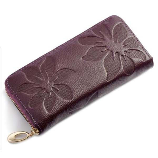 TEXU Leather Women Long Purse Flower Embossing Female Zipper Wallet Money Clips Woman Cards Purse new brand candy colors leather carteira couro cards holder for girls women wallet purse plaid embossing zipper wallet
