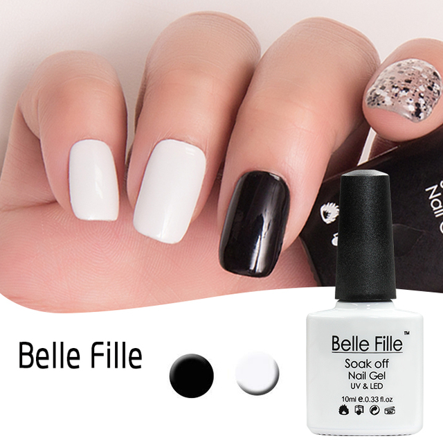 UV Gel Vernis À Ongles 10 ml Blanc Noir Transparent Soak Off Gel ...