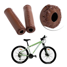 Bike Accessories 1Pair Bicycle Cycle Leather Handlebar Grip Mountain Handle Bar End Grips