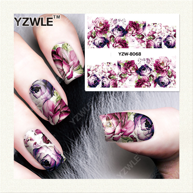 YZWLE 1 Sheet DIY Decals Nails Art Water Transfer Printing Stickers Accessories For Manicure Salon YZW-8068 yzwle 1 sheet hot gold 3d nail art stickers diy nail decorations decals foils wraps manicure styling tools yzw 6015