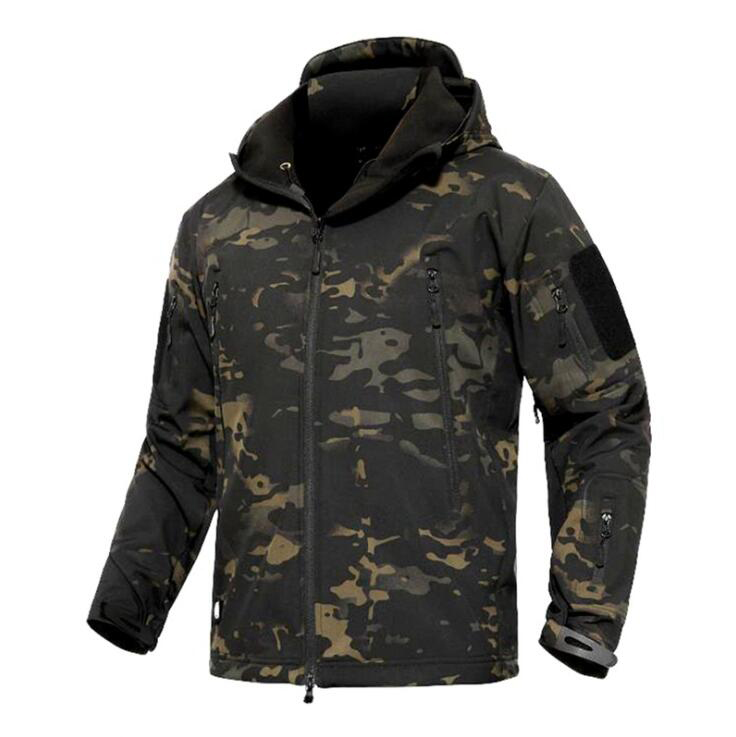 Tactical Softshell Jacket Men Outdoor Hooded Fleece Jacket Wind Waterproof Multicam Black A TACS Kryptek Coyote