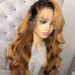 Image 2 - 1B/27 dantel ön İnsan saç peruk ile bebek saç dalgalı ön koparıp Ombre renk brezilyalı sarı saç peruk kadınlar için ağartılmış knot