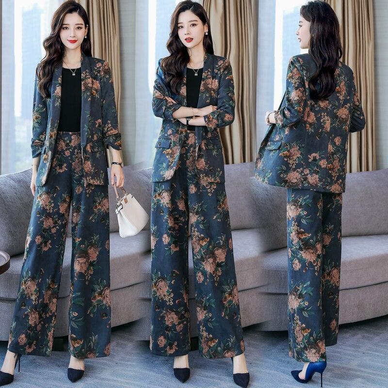 YASUGUOJI New 2019 Spring Fashion Floral Print Pants Suits Elegant Woman Wide-leg Trouser Suits Set 2 Pieces Pantsuit Women 2