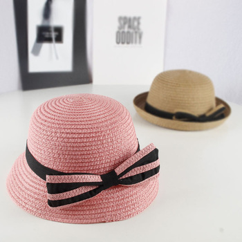 Spring Bow Toddler Straw Hat – Pink