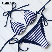 OMKAGI Brand 2017 Women Retro Naval Style Bikinis Set Swimwear Women Summer Adjustable Halter Bandage Swimsuits