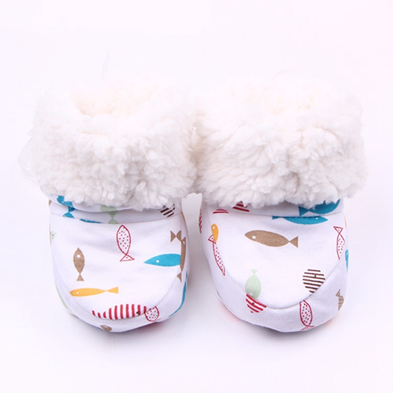 Beautiful Baby Winter Boots Cute Eight Pattern Print Designs Soft Sole Cotton Infant Baby Girl Boy Boots For 0-12 Months