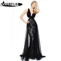VENFLON Long Summer Dress Women 2019 Elegant Sexy Backless Deep V Neck Ball Gown Dress Female Chiffon Lace Maxi Party Dress