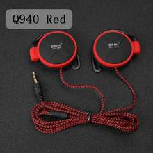 2PCS/Lot 3.5mm Wired Headset Cheap Headphones EarHook Super Bass Earphone For Mp3 Player Smartphone Mobile Ipad Q940 Red