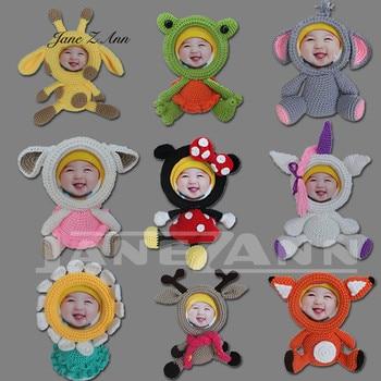 Jane Z Ann Kreatif Fotografi Alat Peraga Buatan Tangan Merajut Rentang Bayi Lucu Kartun Hewan Bingkai Foto Akrilik Boneka Mainan Bingkai
