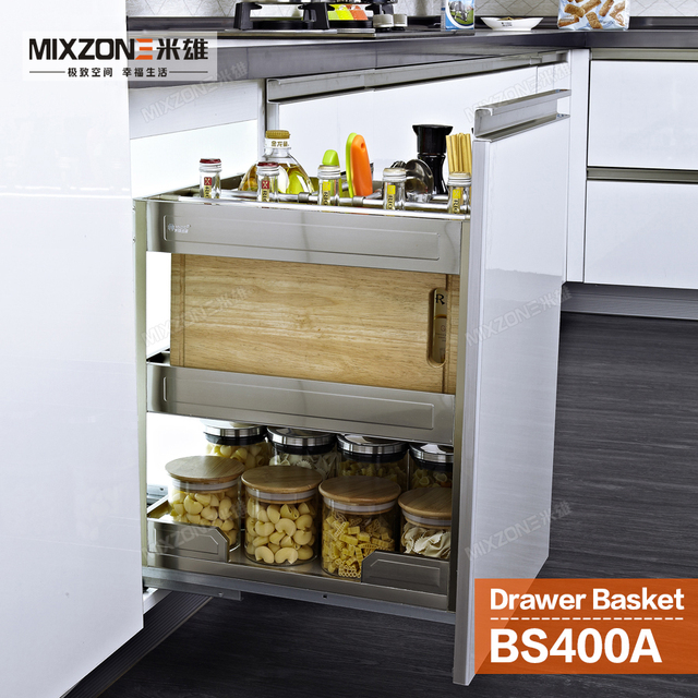 Pull Out Basket Organizer Stainless Steel Kitchen Cabinet Condiment Sliding Two Tiers E Bottles Rack