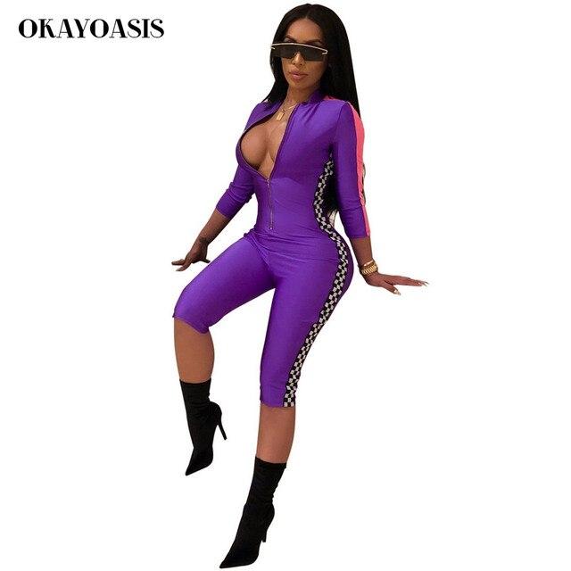 1ce2eb96102b OKAYOASIS Plaid Printed Half Sleeve Jumpsuit 2018 Women Summer Moto Biker  Sexy Zip Overalls Deep V-Neck Rompers Racing Clothing