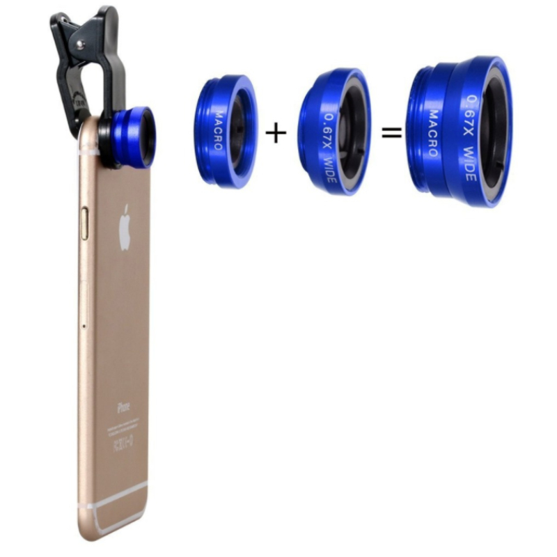 APEXEL Clip Lentes 3 in1 Macro+Wide Angle +Fisheye Camera digital Detachable Lens kit For iPhone 6S Plus 54 Samsung Galaxy S6