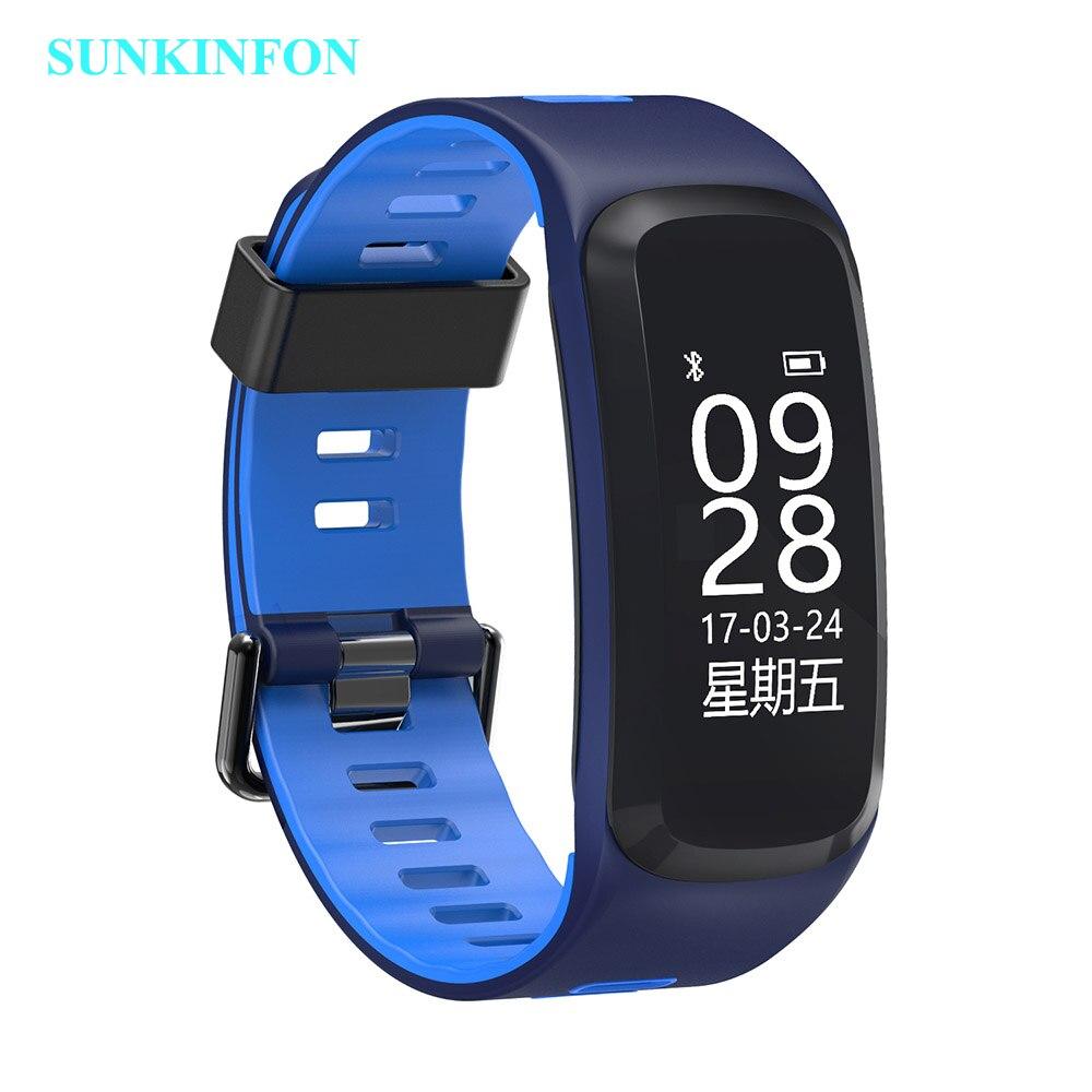 F7 pulsera reloj inteligente presión sangre oxígeno Monitor de ritmo cardíaco rastreador de ejercicios inteligente pulsera para IOS Android Mi banda 2 - 3