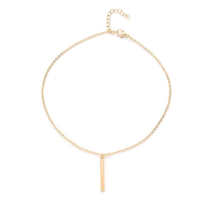 Simple Geometric Metal Stick Pendant Necklace Women Fashion Clavicle Chain Choker Necklace Jewelry in Pendant Necklaces from Jewelry Accessories