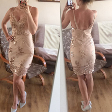 Womens Gold Black Sequins Dress 2018 New Sexy V-neck Backless Women Sundress Luxury Party Club Wear Mini Sequined Vestidos