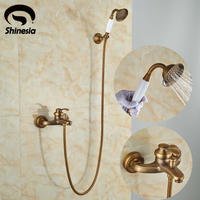 NEW Antique Brass Single Handle Shower Set Faucet Wall Mounted Handheld Shower Mixer Taps antique 8 brass rainfall shower faucet set with handheld shower wall mount single handle mixer taps