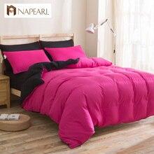 Conjuntos de ropa de cama textil del hogar del algodón de poliéster de color sólido funda nórdica caso pilollow sábana cubierta de cama doble completa rey