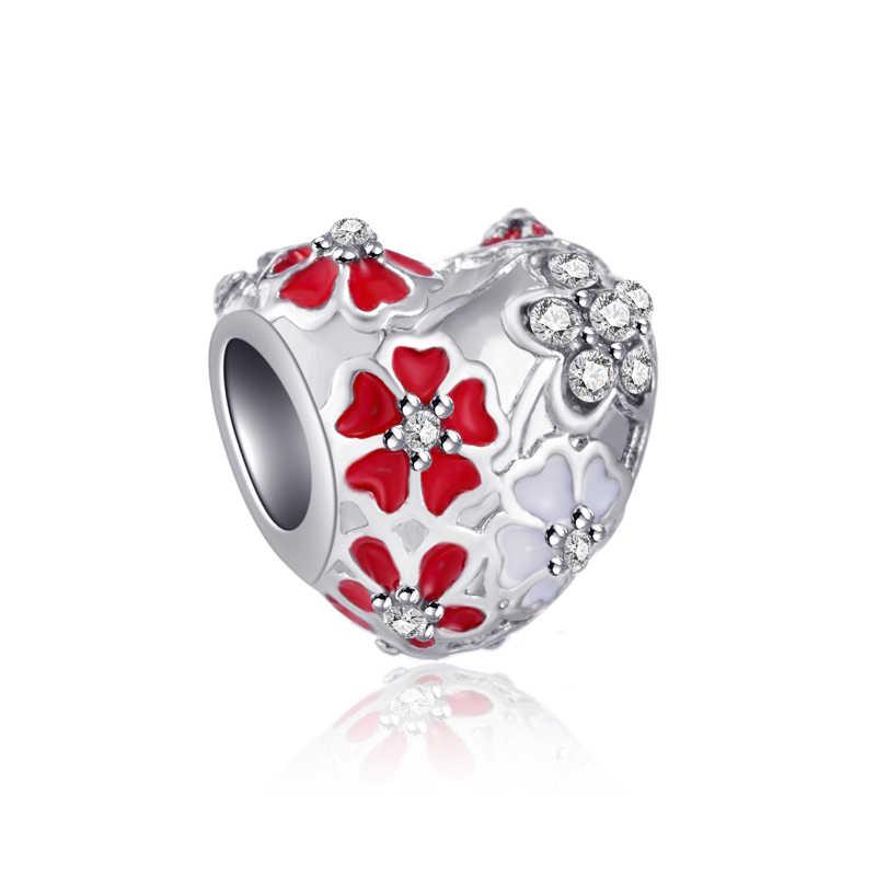 Merah Gaya Mewah Bunga Tupai Cross Heart Mickey Simulasi Mutiara Manik-manik Cocok Pandora Charms Gelang untuk Wanita Perhiasan