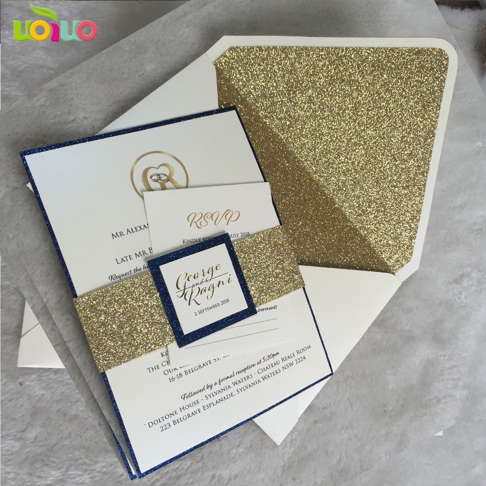 Us 18 05 5 Off Diy Customize 10pcs Laser Cut Wedding Invitations Card Wedding Glitter Gold Envelope Glitter Belly Band Glitter Insert Print Tag In