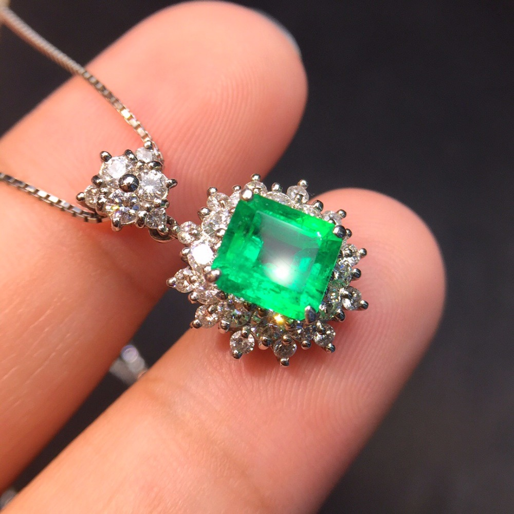 Fine Jewelry Real Pure 18 K White Gold AU750 100% Natural Emerald Gemstones 1.8ct Females Pendants for Women Fine NecklacesFine Jewelry Real Pure 18 K White Gold AU750 100% Natural Emerald Gemstones 1.8ct Females Pendants for Women Fine Necklaces