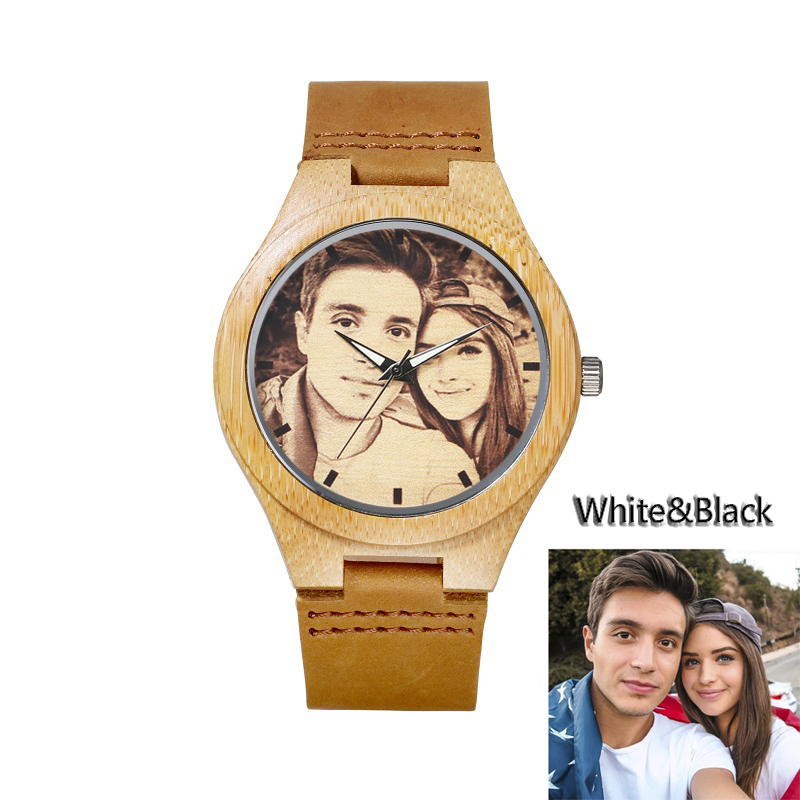 Custom Brand Watch Photo Unique Private Sketch Picture Bamboo Wood Leather Causal Quartz Customized Logo Women Men Watches Gift custom coil notebook spiral notepad personalized customized picture photo logo