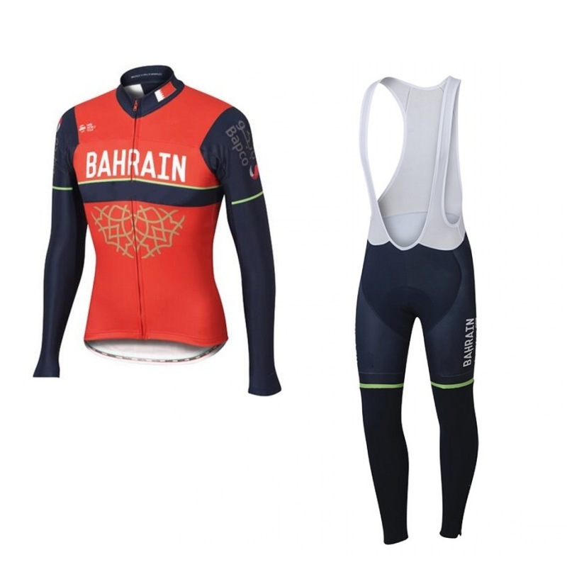 2017 spring autumn pro team bahrain merida long sleeve cycling jersey breathable Ropa Ciclismo bike clothing maillot GEL pad