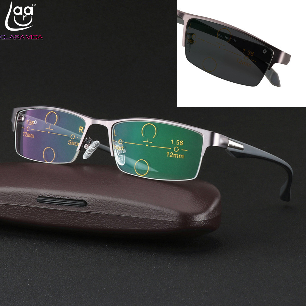 CLARA VIDA = Ultraléger al-mg alliage cadre TR90 jambes photochromiques multifocale progressive lunettes de lecture À Double Foyer + 1 + 1.5 À + 3.25