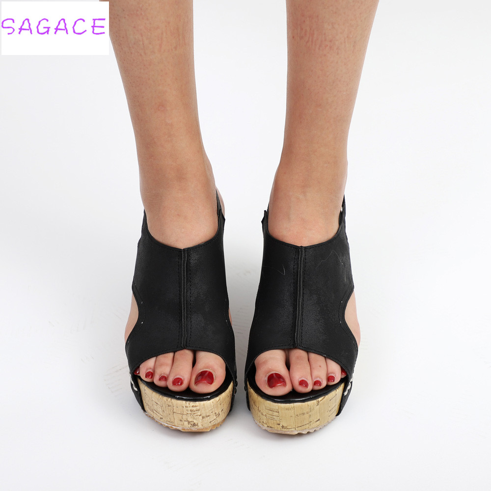 SAGACE 2018 Women Sandals Summer Platform Wedges Hot Fashion Casual Shoes Floral Super High Heels Open Toe Slippers Sandals boldees chic women open toe wedge sandals awesome purple suede dress shoes super high platform nighclub sandals hot plus size43
