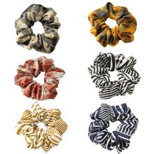 Assorted Colors Vintage Plaid Striped Hair Scrunchies Women Ladies Elastic Ties Rubber Rope Large Intestine Ponytail Holder