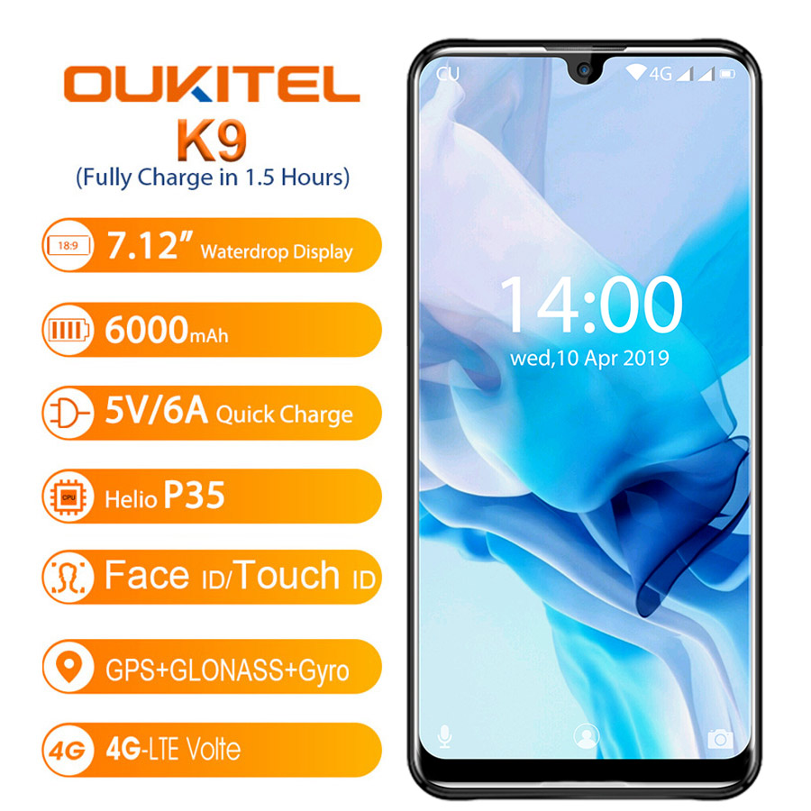 OUKITEL K9 Waterdrop 7.12 FHD+ 1080*2244 16MP+2MP/8MP Mobile Phone 4GB 64GB Face ID Smartphone 6000mAh 5V/6A Quick Charge OTGOUKITEL K9 Waterdrop 7.12 FHD+ 1080*2244 16MP+2MP/8MP Mobile Phone 4GB 64GB Face ID Smartphone 6000mAh 5V/6A Quick Charge OTG