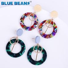20 color ZA Acrylic Round Shape Earrings for Women Drop Earing Statement Fashion luxury Acetate trendy oorbellen Jewelry Gifts(China)