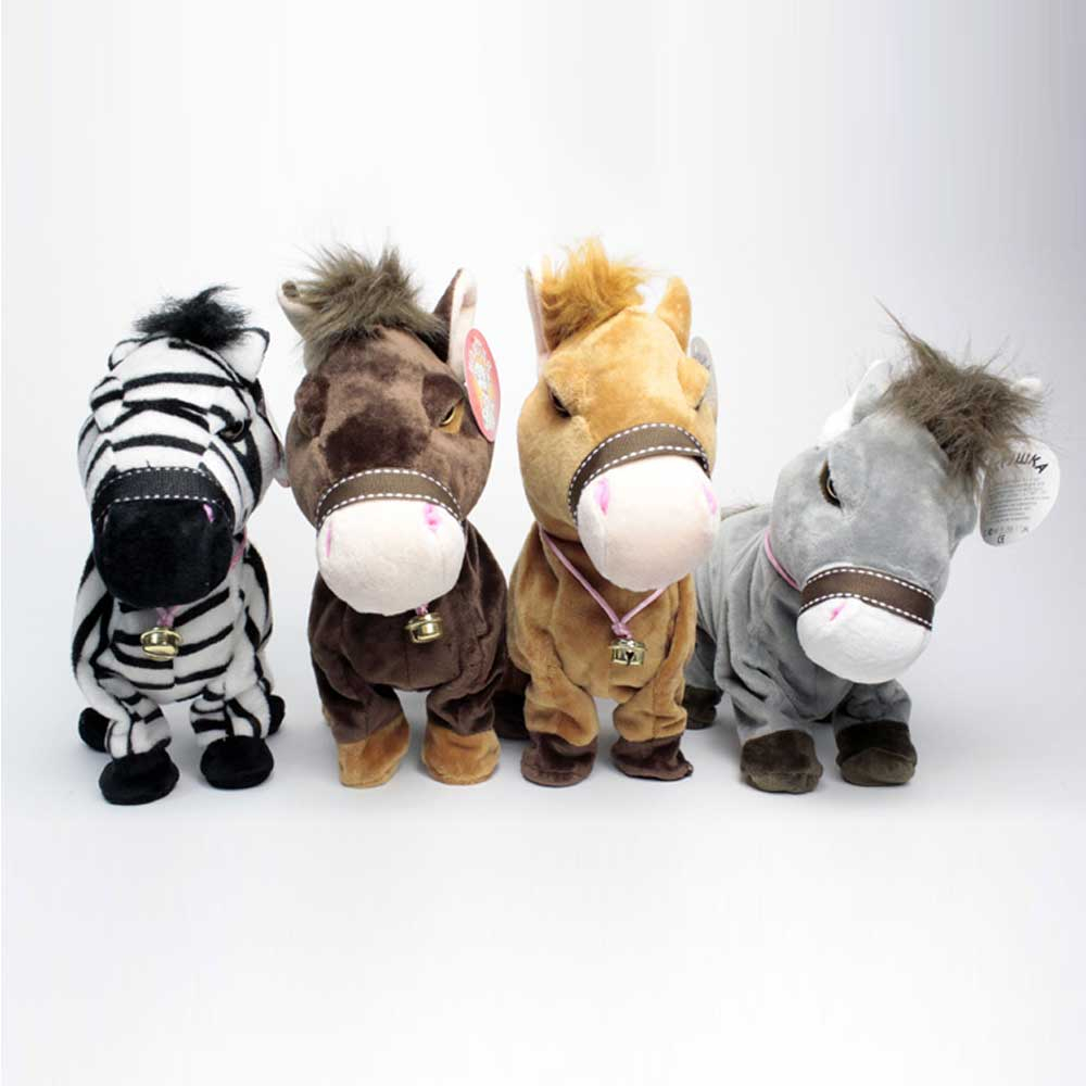 Robot Horse Sound Control Pony Electronic Horse Interactive Plush Animal Pet Toy Walk Headstand Bow Toys For Children
